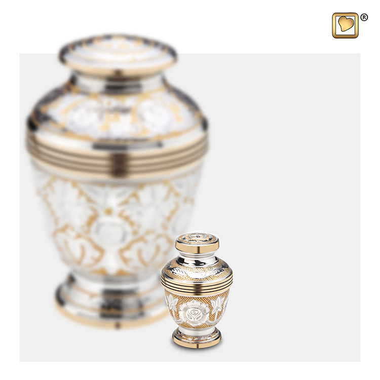 Messing Mini Urn Messing Bloemen - Zilver (0.07 liter)