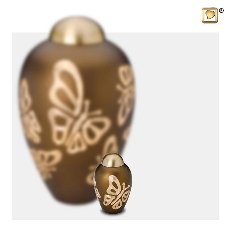 Messing Mini Vaasurn Golden Brown Vlinders (0.05 liter)