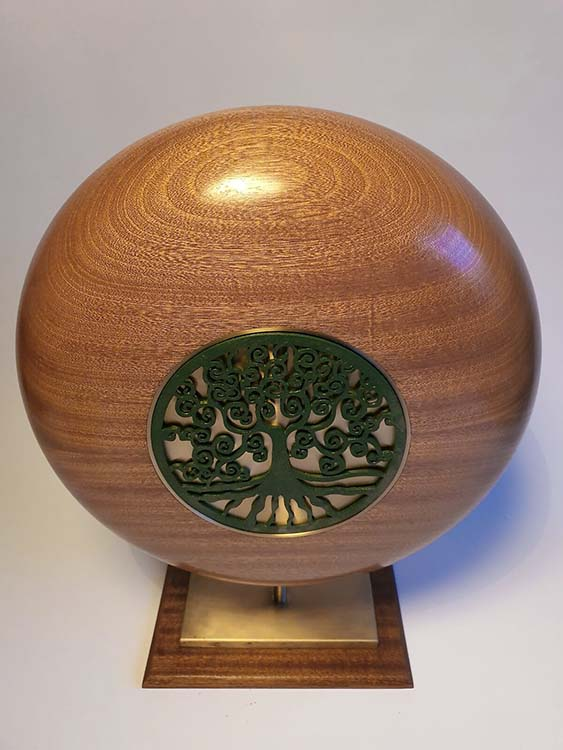 Extra Grote Mahonie Gold Design Urn op Sokkel (ca. 7 liter)