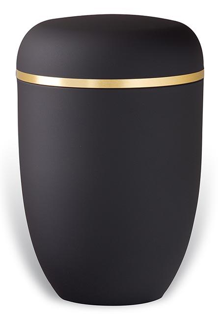 Matzwarte Design Urn met Gouden Sierband (4 liter)