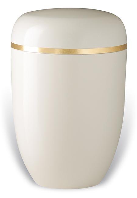 Witte Design Urn met Gouden Sierband (4 liter)