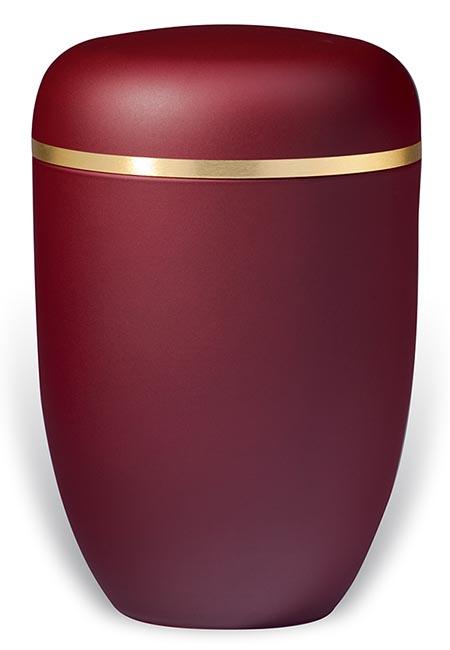 Robijnrode Design Urn met Gouden Sierband (4 liter)
