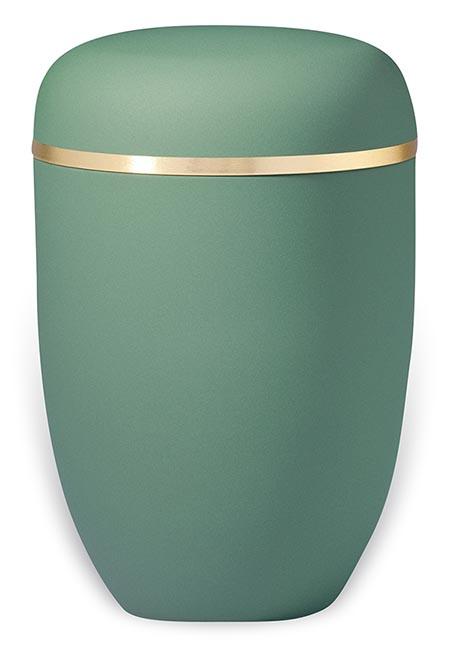Jadegroene Design Urn met Gouden Sierband (4 liter)