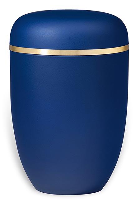 Matblauwe Design Urn met Gouden Sierband (4 liter)