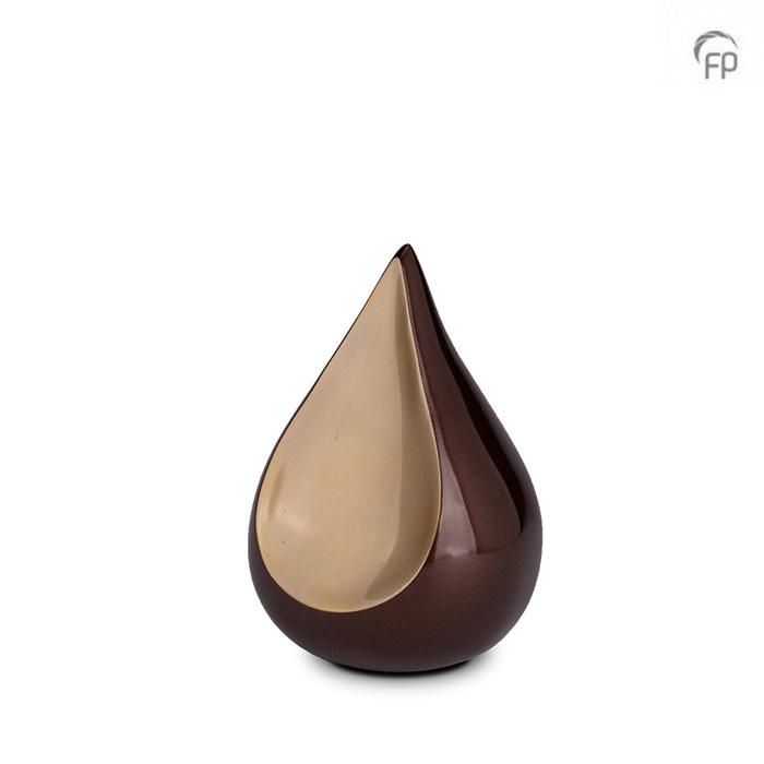 Kleine Teardrop Dierenurn Bruin - Beige Inlay (0.7 liter)