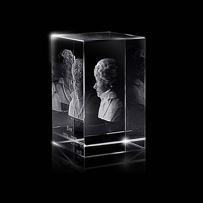 Kristalglas Rechthoek met Lasergravure (10 cm.)