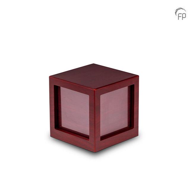 Mediumgrote Houten Photocube Urn Kersenhout (1.3 liter)