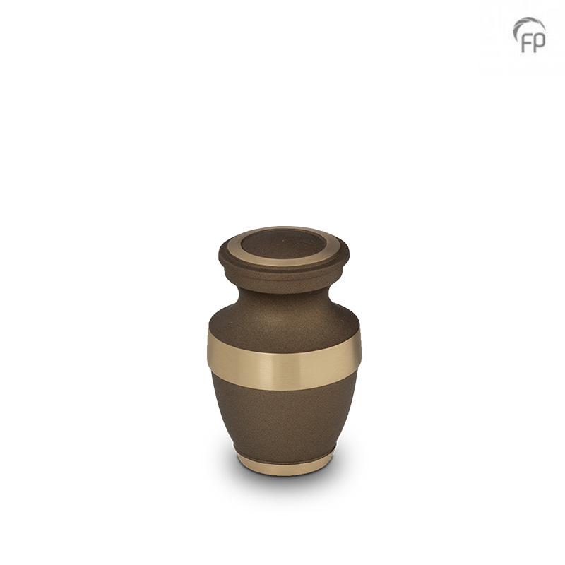 Klassieke Mini Urn Bruin - Messing Sierranden (0.05 liter)