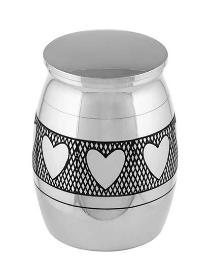 Micro Urntje Zilver Hartjes (0.01 liter)