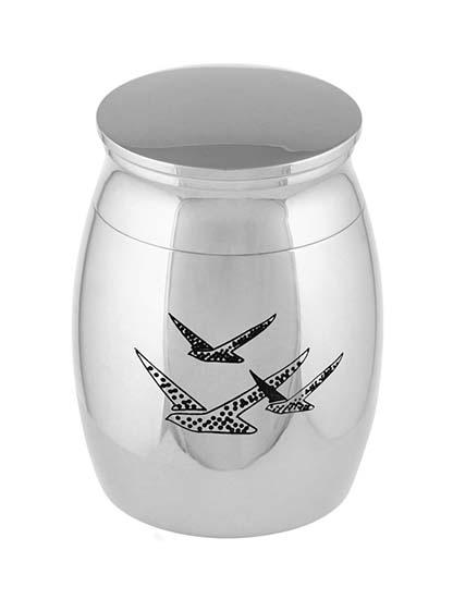 Micro Urntje Zilver Vogels (0.01 liter)