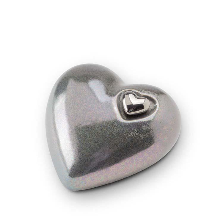 Middelgrote Keramische Hart Dierenurn Zilvergrijs (1.4 liter)