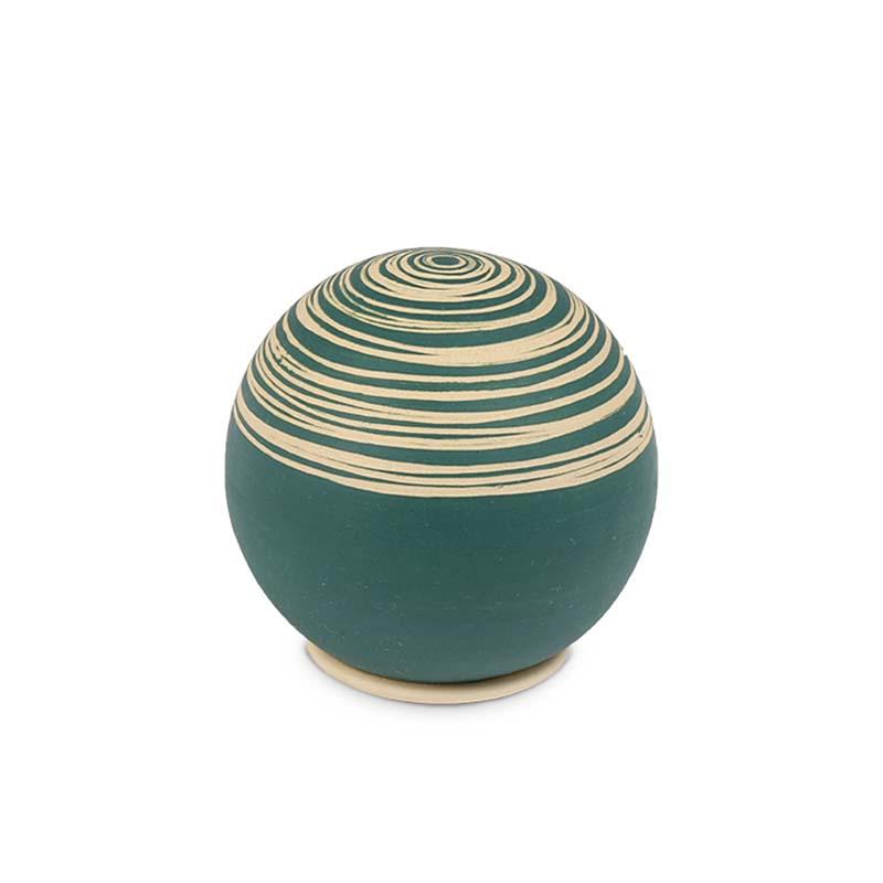 Mini Keramische Bol Urn Petrol Slib (0.25 liter)