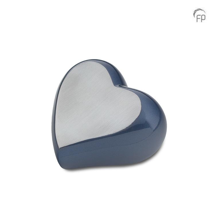 Mini Dieren Hart Urn Blauw - Zilver (0.08 liter)
