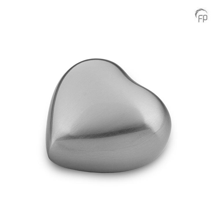 Mini Hart Urn Geborsteld Zilver (0.08 liter)
