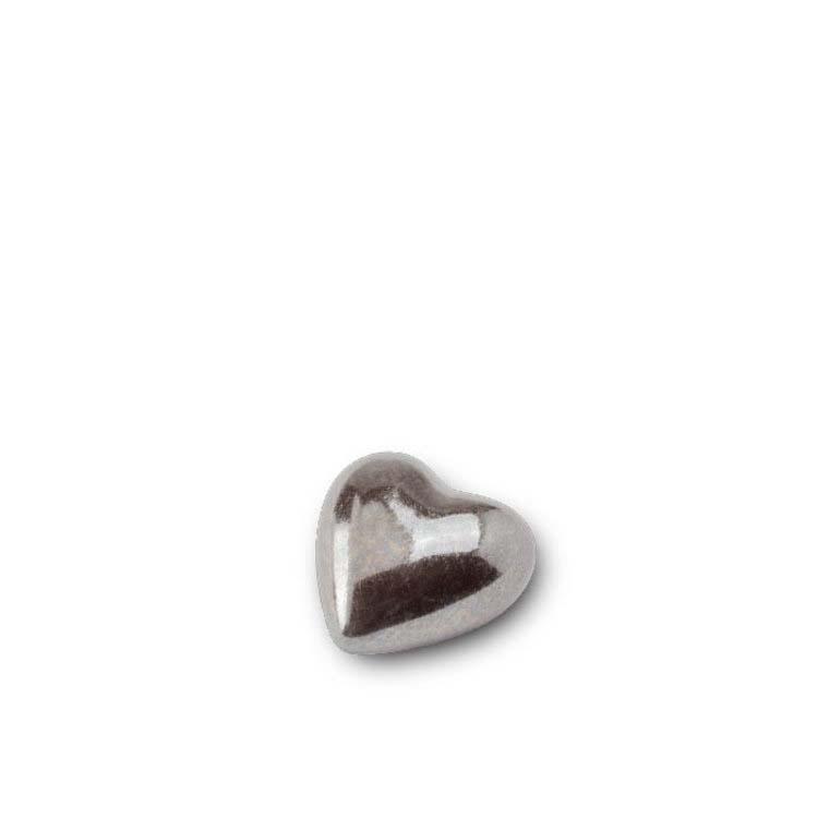 Mini Keramische Hart Dierenurn Zilvergrijs (0.05 liter)