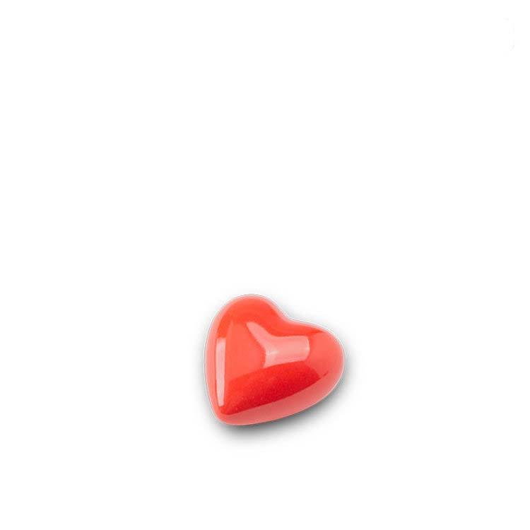 Mini Keramische Hart Urn Hoogglans Rood (0.05 liter)