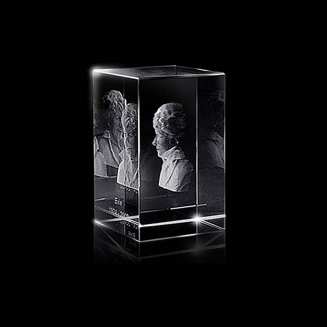 Kristalglas Rechthoek met Lasergravure (5 cm.)