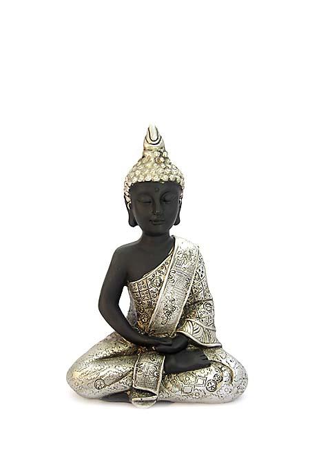 Thaise Meditatie Boeddha Mini Dierenurn Zwart - Zilver (0.15 liter)