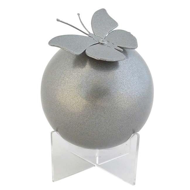 Mini RVS Bol Urn op Transparant Sokkeltje (0.4 liter)