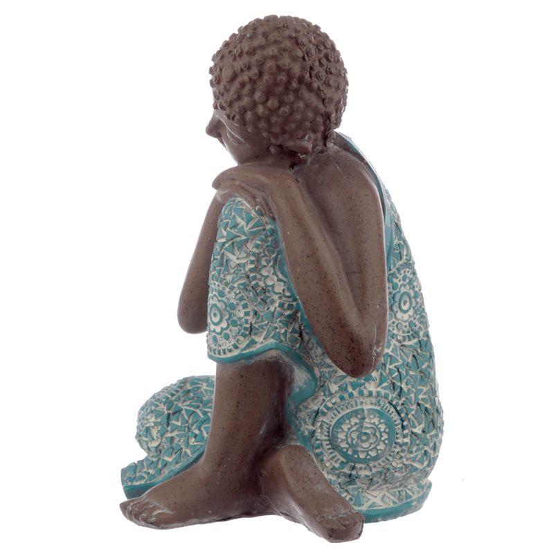 Kleine Urn Slapende Indische Buddha Turkoois Links (0.5 liter)