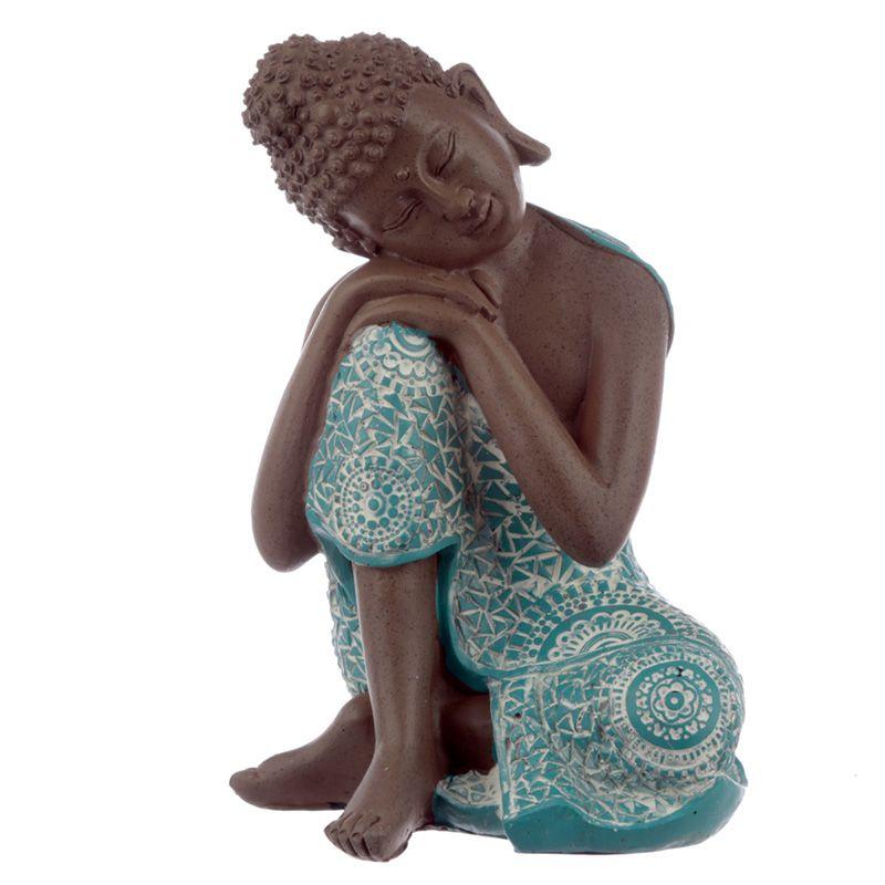 Dierenurn Slapende Indische Buddha Turkoois Rechts (0.5 liter)