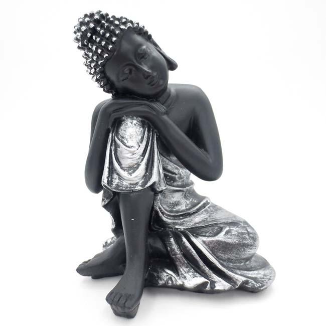 Dierenurn Slapende Indische Buddha Zwart-Zilver (0.3 liter)