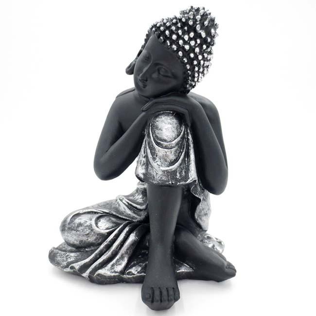 Kleine Urn Slapende Indische Buddha Zwart-Zilver (0.3 liter)