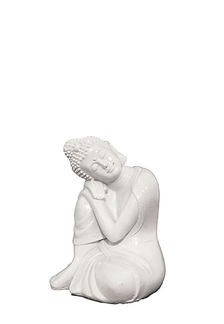 Mini Urn Slapende Indische Buddha XS Wit (0.025 liter)