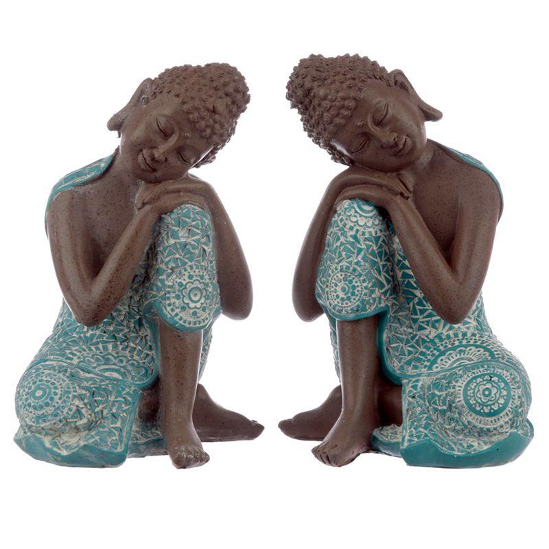 Kleine Slapende Indische Buddha Urnen Voordeelset Turkoois (1 liter)