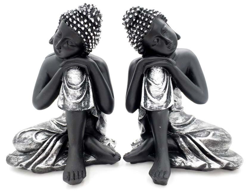 Kleine Slapende Indische Buddha Urnen Voordeelset Zwart-Zilver (0.6 liter)