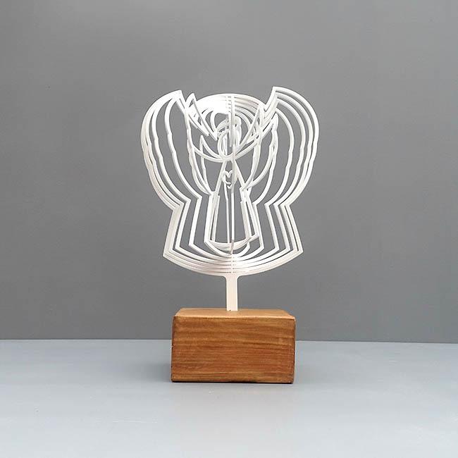 3D Mini Urn Engel met Asbol en Asbuisje, Zwart of Wit (0.015 liter)