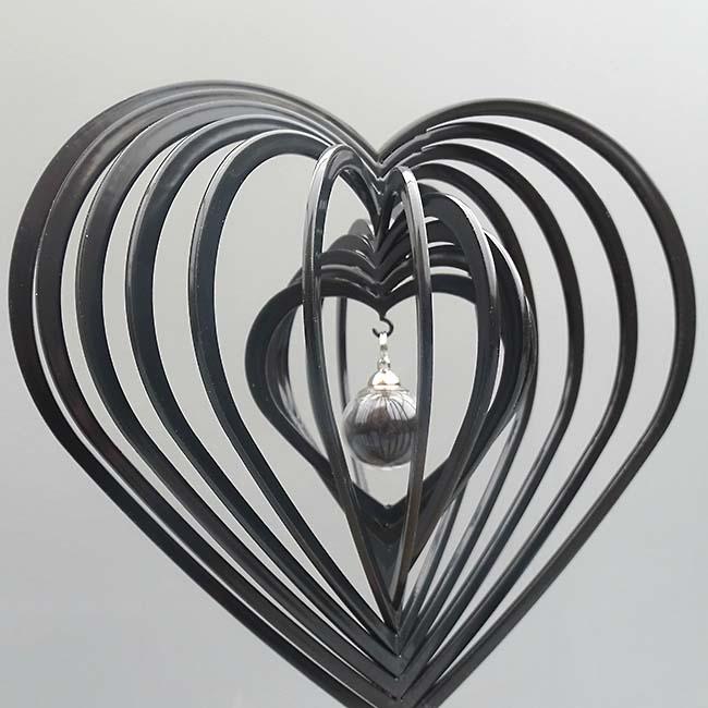 3D Mini Dierenurn Hart met Asbol en Asbuisje, Zwart of Wit (0.015 liter)