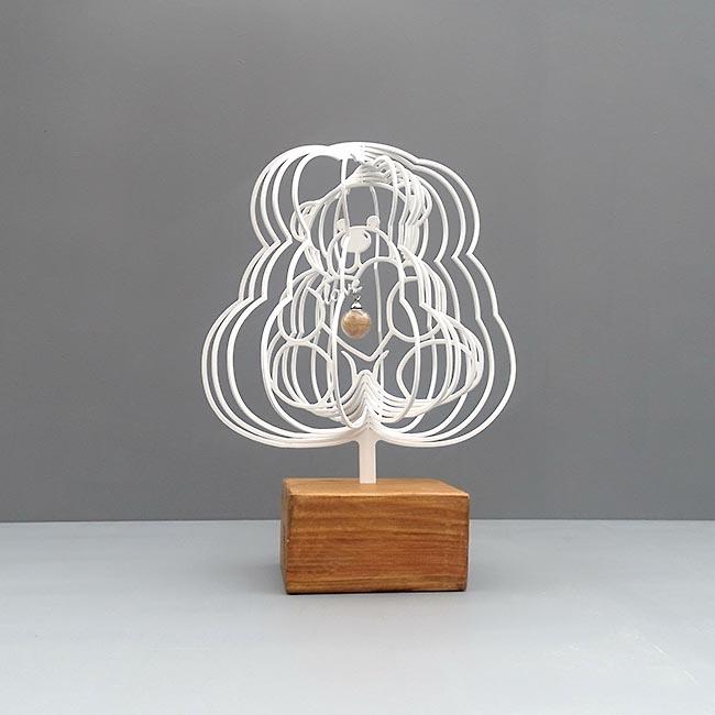 3D Mini Urn Teddybeer met Asbol en Asbuisje, Zwart of Wit (0.015 liter)