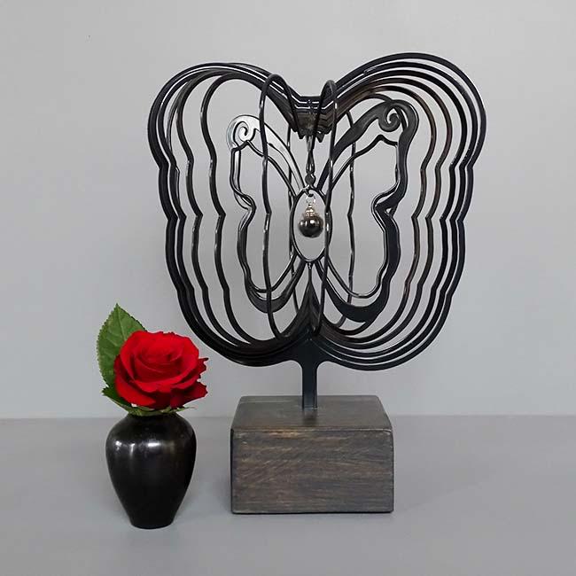 3D Mini Urn Vlinder met Asbol en Asbuisje, Zwart of Wit (0.015 liter)