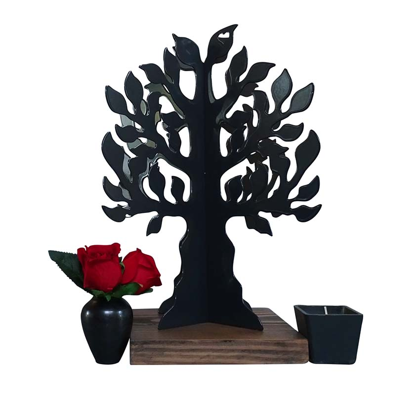 3D Mini Dierenurn Gedenkboom, Zwart of Wit (0.015 liter)