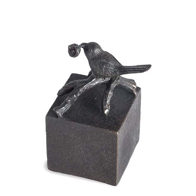 Bronzen Mini Urn Vogeltje met Roosje (0.05 liter)