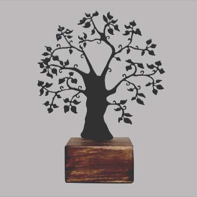 Mini Urn Gedenksieraad Herinneringsboom Zwart of Wit (0.015 liter)