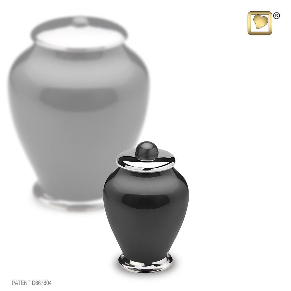 LoveUrns Mini Simplicity Urn Zwart-Zilver (0.075 liter)