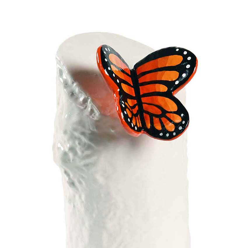 Kunsthars Mini Urn Oranje Vlinder (0.15 liter)