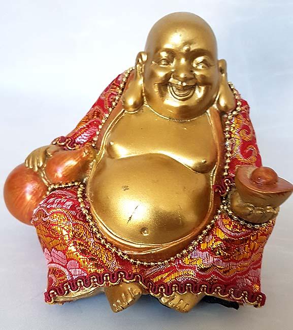 Beklede Happy Boeddha Miniurn Shiny Gold (0.15 liter)