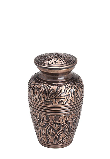 Messing Mini Urn Bronzen Bladeren (0.11 liter)