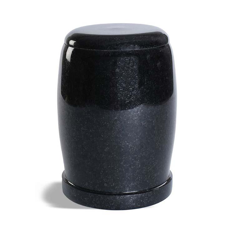 Ovale Granieten Pot-Urn Marlin-Zwart (3.5 liter)