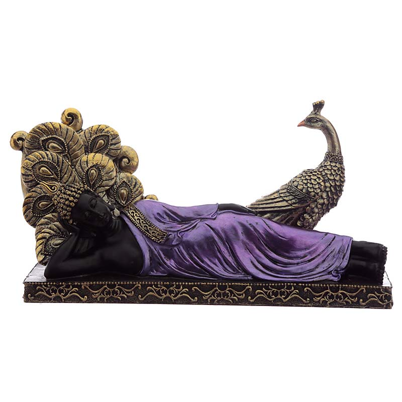 Thaise Liggende Boeddha Urn Purple met Pauw (1.2 liter)