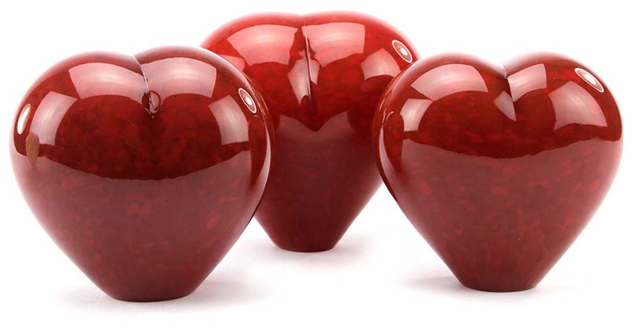 Kristalglazen Dieren Hart Urn Rood Opaque (0.65 liter)