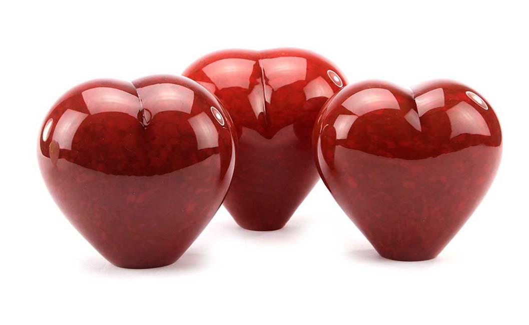 Kristalglazen Dieren Hart Urn Rood Opaque (0.45 liter)