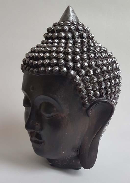Kleine Thaise Boeddha Hoofd Urn Zwart-Zilver (0.5 liter)