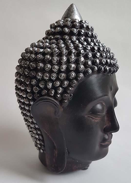 Kleine Thaise Boeddha Hoofd Dierenurn Zwart-Zilver (0.5 liter)