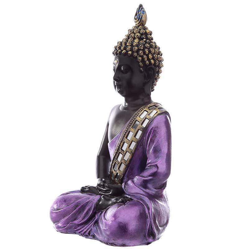 Thaise Meditatie Boeddha Dierenurn  Paars - Zwart (0.9 liter)
