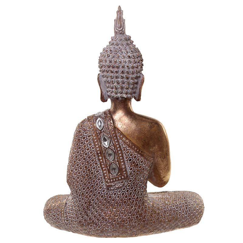 Thaise Meditatie Boeddha Urn  Oudgoud - Wit (ca. 1 liter)