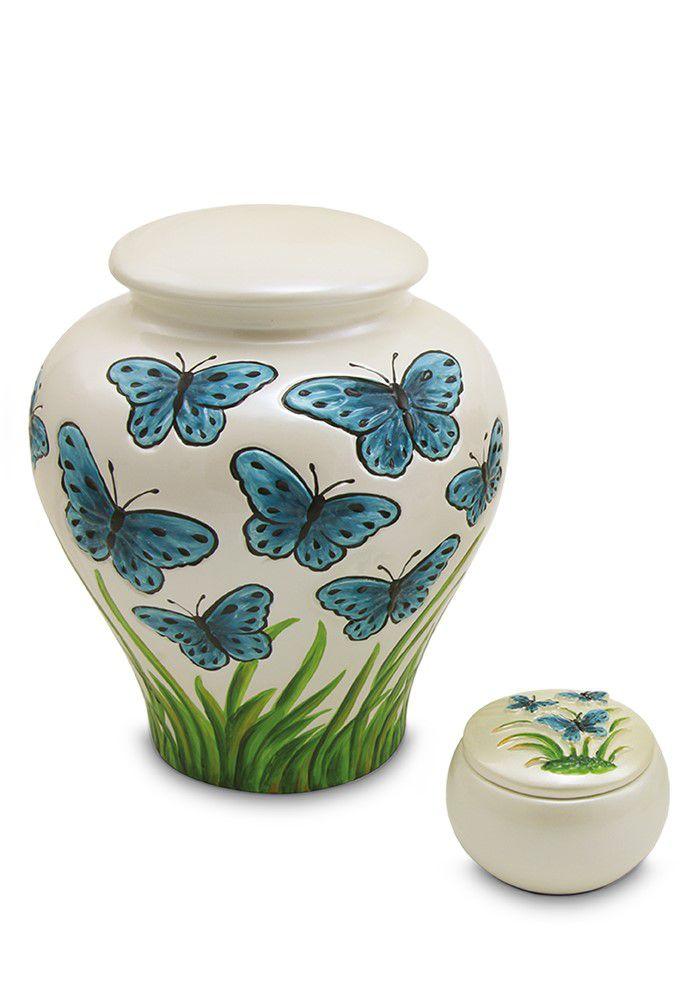 Keramische Blauwe Vlinders Relief Miniurn (0.16 liter)